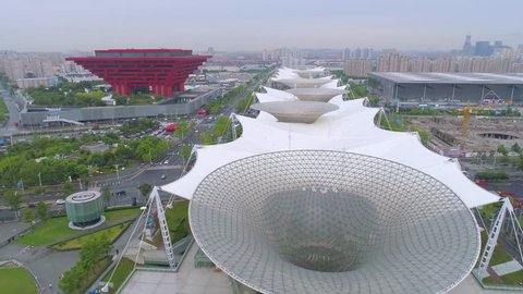 SHANGHAI, CHINA - MAY 7, 2017: Aerial view of Museum of Art pavilion, former Expo site in Shanghai, modern architecture, famous building