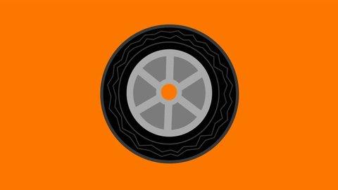 Car tire rotating 2D animation