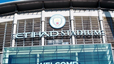 Manchester,UK - 4 May 2017: Exterior Of Etihad Football Stadium In Manchester