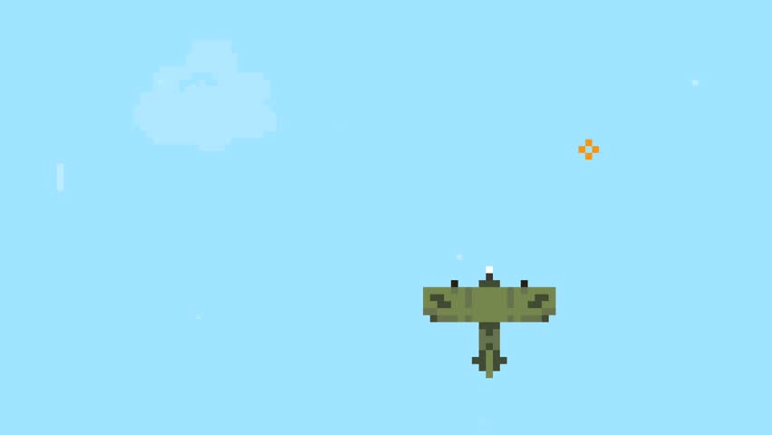 Retro Pixel Art Airplane Arcade Machine Video Game Animation Concept. Plane Colects Objects in Blue Sky. Cartoon 4K Motion Design Footage.