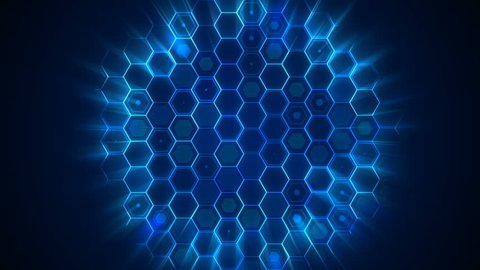 Randomly pulsating hexagonal grid revealed by circular light effect. Multi purpose video background. 4K UltraHD motion graphic animation.