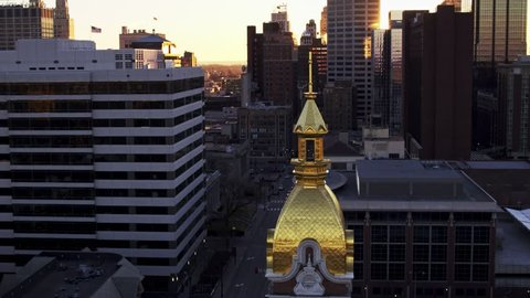 Kansas City, Kansas / USA - March 10, 2017 4K Aerial footage of the Cathedral of the Immaculate Conception dome at sunrise.