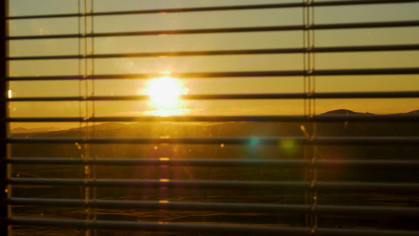 Plastic blinds close and open the window against the nature of the autumn field and mountains | Shutterstock HD Video #1008467497