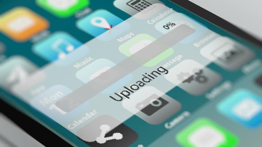 Upload Process Animation on Smart Phone Screen.