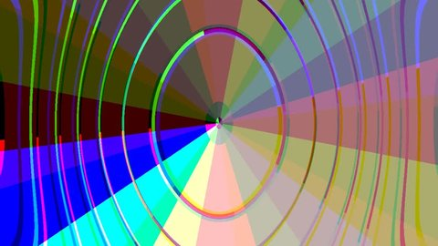 Pastel rainbow rays and wobbly ellipses animated
