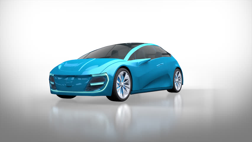 Animation of isolated futuristic electric car with blue lights. Concept car design. 3d render. The clip is loopable. Alpha channel.