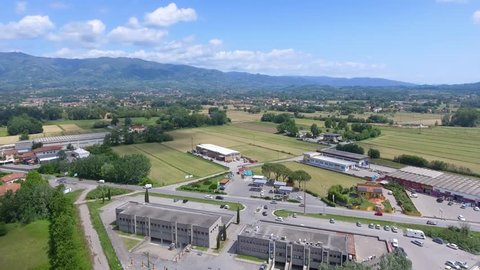 Aerial view of Lucca countryside and mountains, Tuscany.