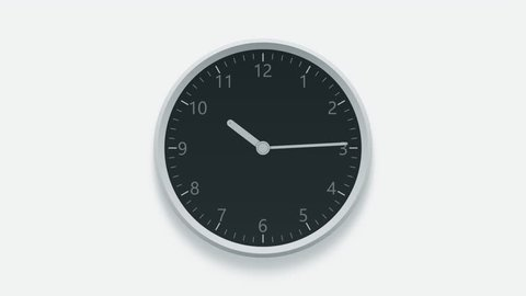 Office wall clock measuring off working hours from 8 a.m. to 6 p.m. Time lapse animation