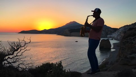 Sunset & saxophonist