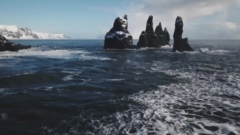 Iceland Black Sand Beach Aerial View Showing Basalt Rock Formations Trolls Toes 2