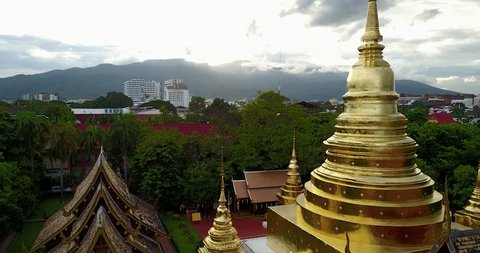 Aerial temple at Wat Phra Singh in Chiang mai, Thailand.
