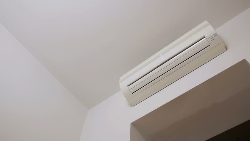 Turning on and off the air conditioning. Video footage of turning on and off the air conditioning.