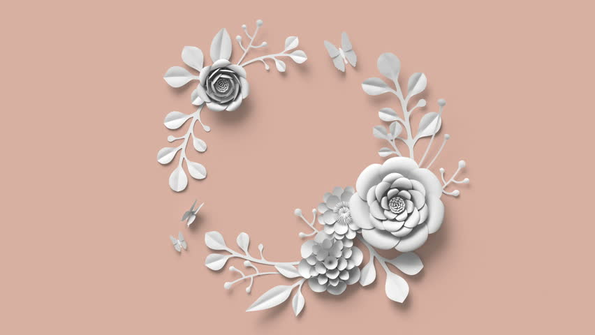 3d render, round floral wreath, growing flowers, blush rose background, paper flowers, blooming botanical pattern, bouquet, papercraft, pastel color, 4k animation