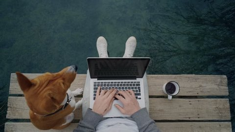 POV awesome shot of hipster man or millennial freelancer write blog post or work on remote office project on laptop, while drinking coffee from adventure metal mug and pet dog on pier on lake