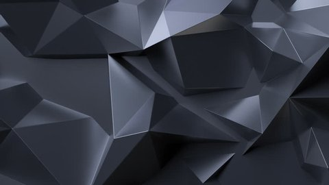 3d render, black abstract crystal  background, low polygonal intro, seamless looping, morphing
