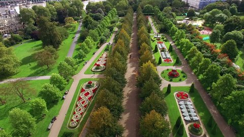 Beautiful Elegant The Regent's Park Gardens Aerial View feat. Decorative Design Flower Beds and Trees in London 4K