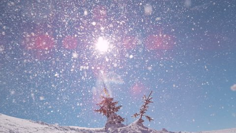 SLOW MOTION: Beautiful snowflake particles fall from the clear blue sky towards the camera. Stunning shot of perfect sunny winter sky and diamond dust slowly falling down on tranquil snowy mountain.