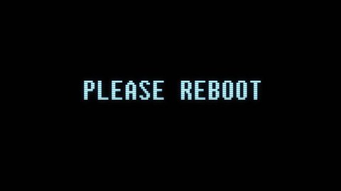 retro videogame PLEASE REBOOT text computer old tv glitch interference noise screen animation seamless loop New quality universal vintage motion dynamic animated background colorful joyful video