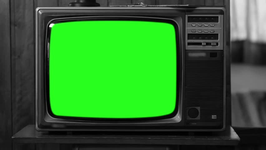 80s Television with Green Screen. Black and White. Zoom Out. Slow. | Shutterstock HD Video #1008696187