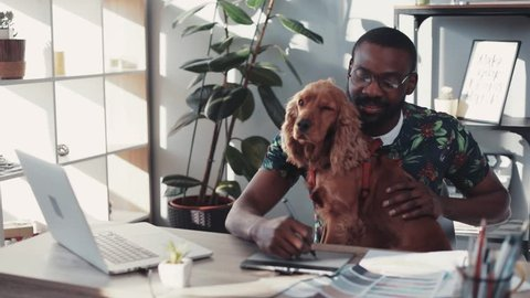 Portrait african american man with glasses working laptop sit with dog draw graphic tablet
