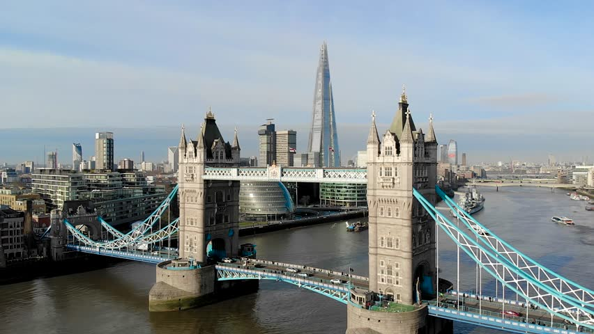 Aerial view of Central London and river Thames in sunny morning | Shutterstock HD Video #1008712747