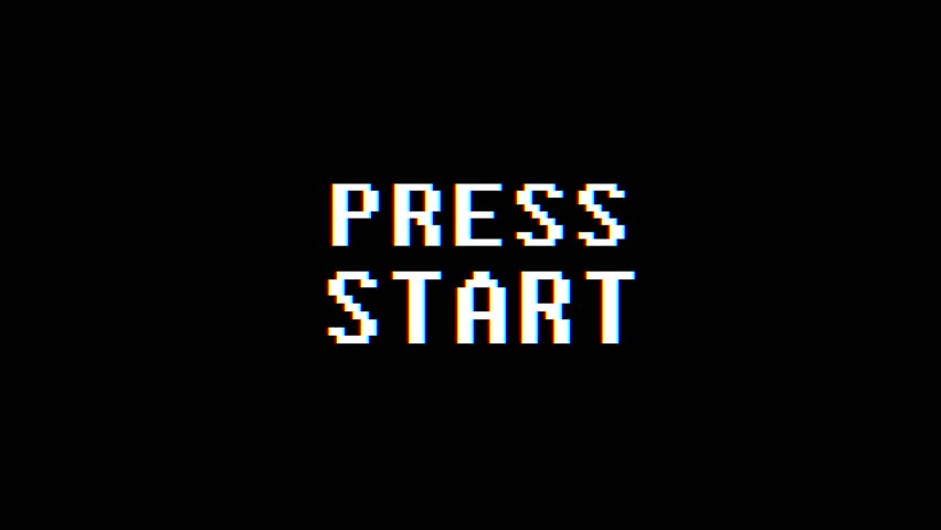 Retro videogame PRESS START text computer old tv glitch interference noise screen animation seamless loop New quality universal vintage motion dynamic animated background colorful joyful video | Shutterstock HD Video #1008738347