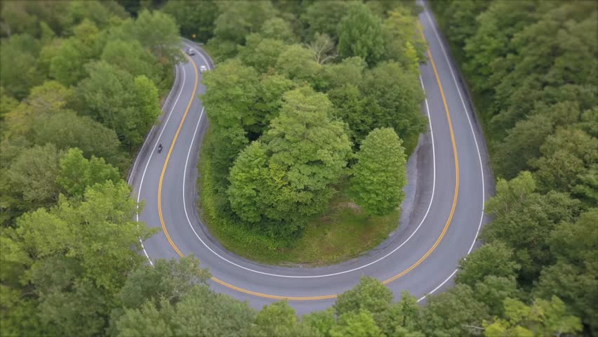 motorcycle hairpin turn aerial Appalachian gap road