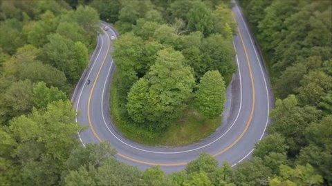 motorcycle hairpin turn aerial Appalachian gap road