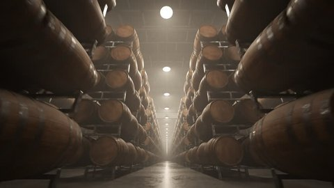 03264 Whiskey or wine barrels stacked in rows at the warehouse