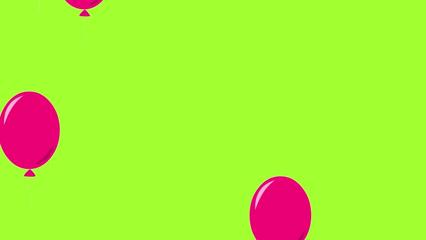 Balloons party. Flying color balloons animation floating up over light green background. Celebration an Holidays background. Birthday party. Use for holidays sites video background. Loop animation, HD