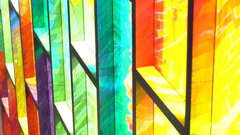 Bright and colorful stained-glass, traveling down, multicolored, artistic