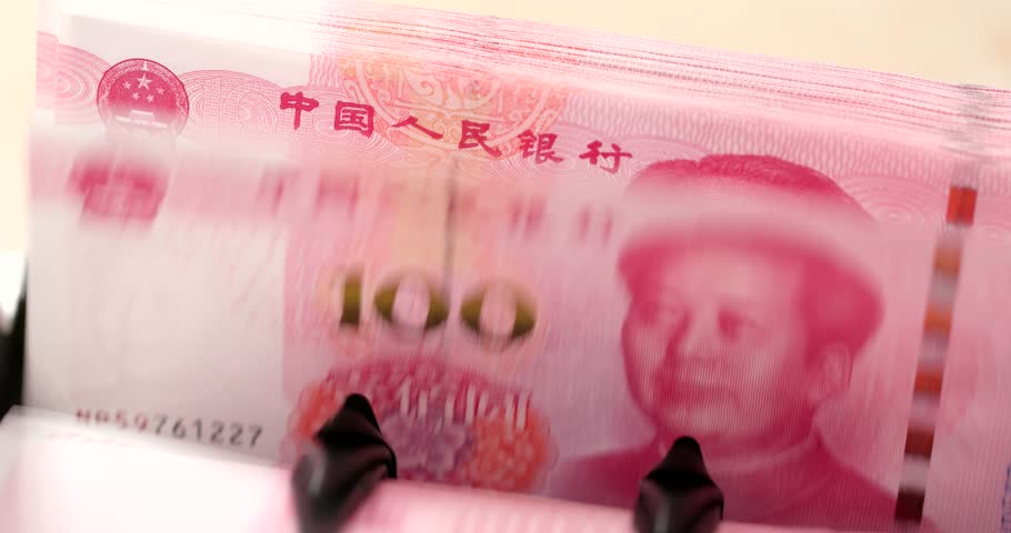 Checking number of hundred chinese banknote on machine | Shutterstock HD Video #1008804977
