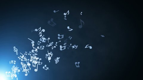 Floating musical notes on abstract background with flares