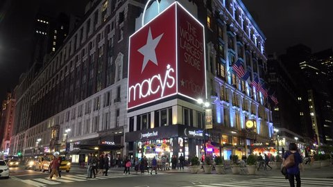 NEW YORK CITY - MAY 25: Macy's department store at Herald Square by night. May 25, 2017 in NYC, New York, USA.