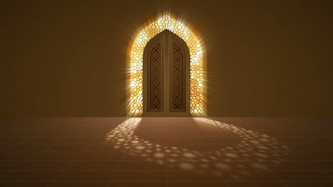 Mosque door with glowing light from behind arabic geometric pattern for islamic ramadan and eid greeting motion graphic