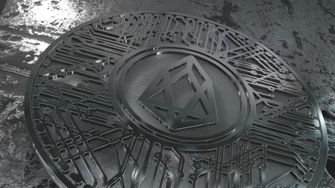 EOS coin (EOS) blockchain cryptocurrency altcoin 3D Render