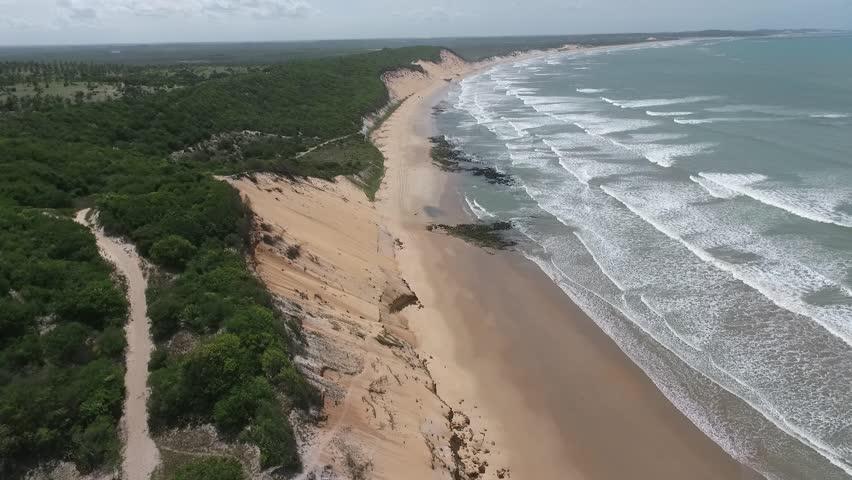Aerial view of Baía Formosa Beach, Rio Grande do Norte, Northeast coast of Brazil