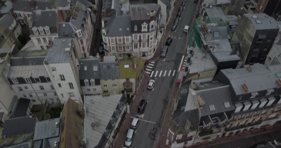 Aerial shots of European town, streets and roads from above, france | Shutterstock HD Video #1008918797