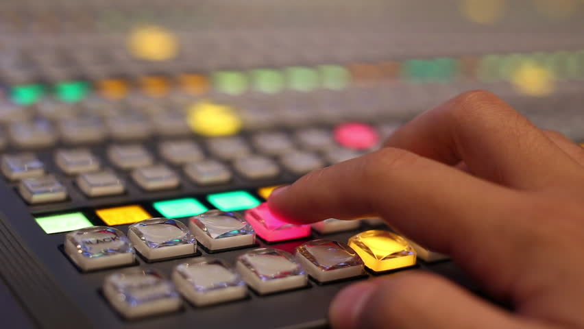 Switcher buttons in studio TV station, Audio and Video Production Switcher of Television Broadcast. | Shutterstock HD Video #1008951587