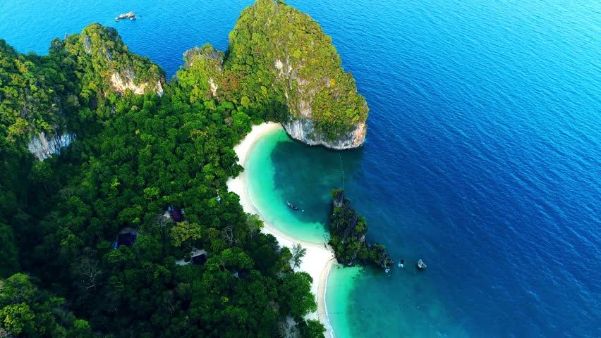 Aerial view on Maya bay, Phi Phi Leh island, Krabi, Thailand