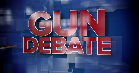 A red and blue dynamic 3D Gun Debate title page background animation.
