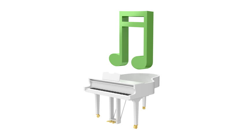Music notes are jumping out of the white grand piano. 3D render seamless loop animation.