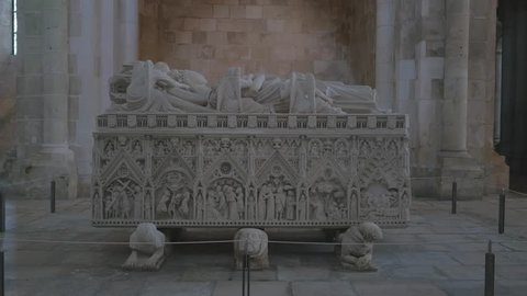 Alcobaca, Leiria/Portugal - August 10 2015: Tomb of D. Ines de Castro in the i Monastery in Alcobaca (also known as Mosteiro de Santa Maria de Alcobaca), in Portugal