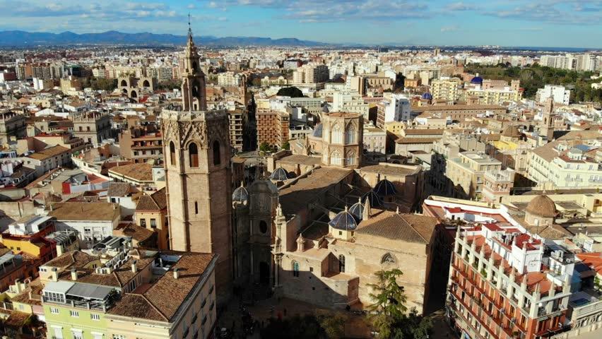 171 Valencia Spain Square of Saint Mary s Architecture . The Metropolitan Cathedral Basilica of the Assumption of Our Lady of Valencia aerial 4k uhd . Basílica   Asunción de Nuestra Señora de Valenci
