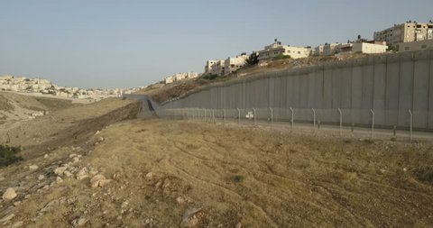 East Jerusalem security wall flight Beuatiful Aerial view of the separation fence in East Jerusalem, Israel