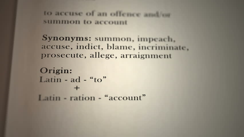 This animation includes a definition of the word arraign.