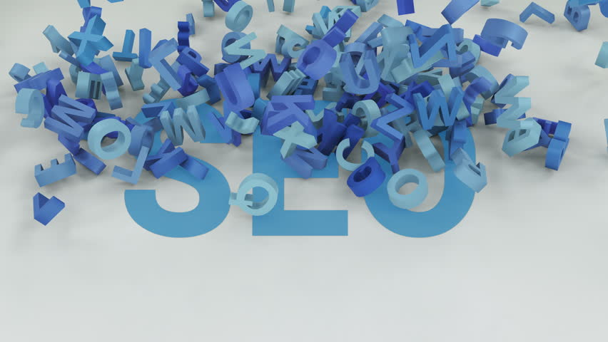 Search engine optimization shortcut is covered by blue letters. Animation of falling down letters on SEO word.