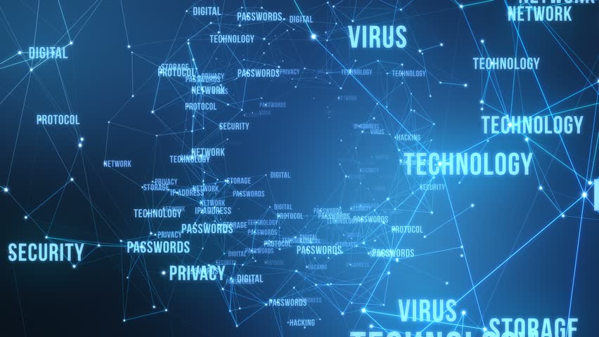 Modern Technological Words and Terms | Flying through 3D Text and Particles with Connected Dots and Polygons | Seamless Looping Animation Motion Background Cyan Blue | Shutterstock HD Video #1009109057