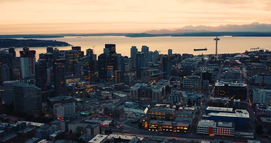 Seattle Skyline Cinematic Look Architecture South Lake Union Westlake Center City Downtown Landmarks Buildings Dusk Twilight Sunset Light Olympic Mountains Puget Sound Coastal Aerial Overview