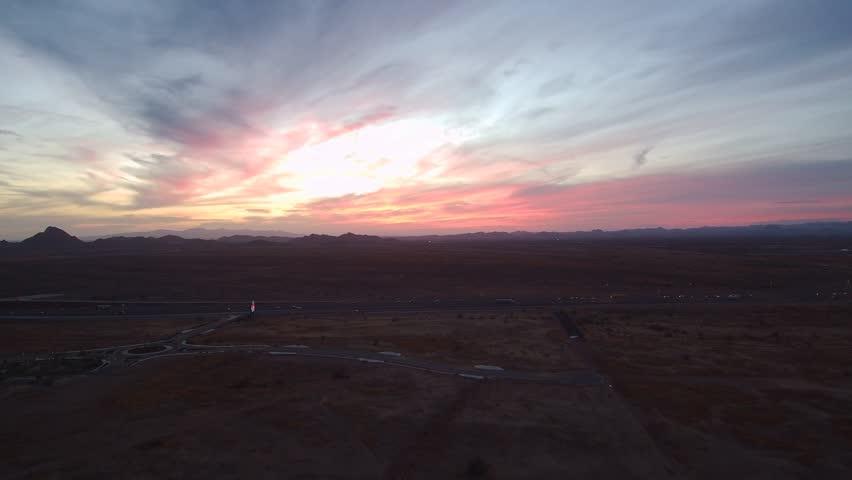 Multi-color sunset over the Arizona Sonoran desert.